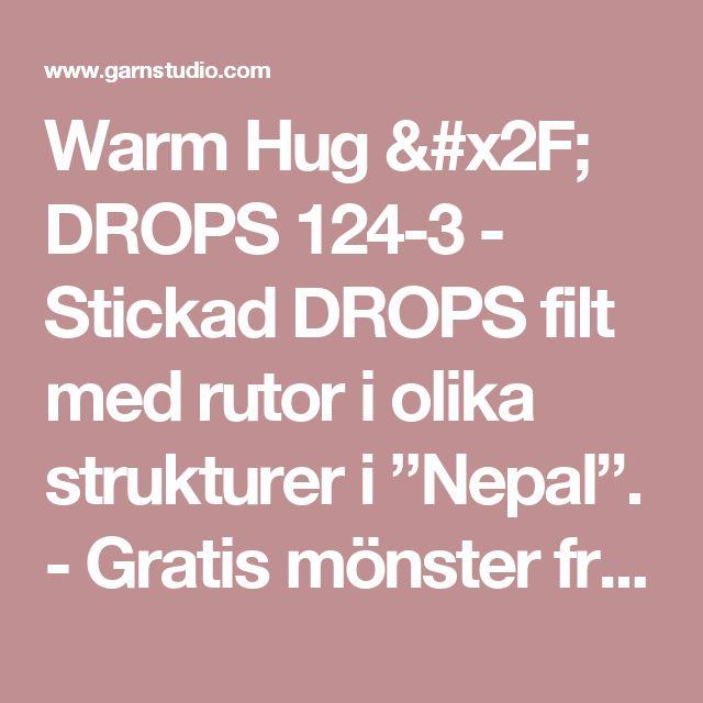 """Warm Hug / DROPS 124-3 - Stickad DROPS filt med rutor i olika strukturer i """"Nepal"""". - Gratis mönster från DROPS Design"""