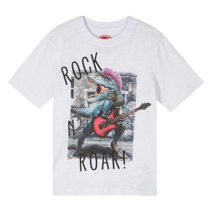 bluezoo Boy's white rocking dinosaur t-shirt- at Debenhams.com