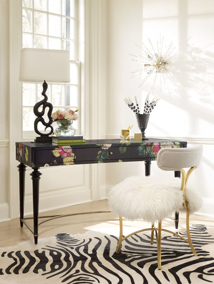 Cynthia Rowley for Hooker Furniture Home Office Fleur de Glee Writing Desk 1586-10458A-MULTI2