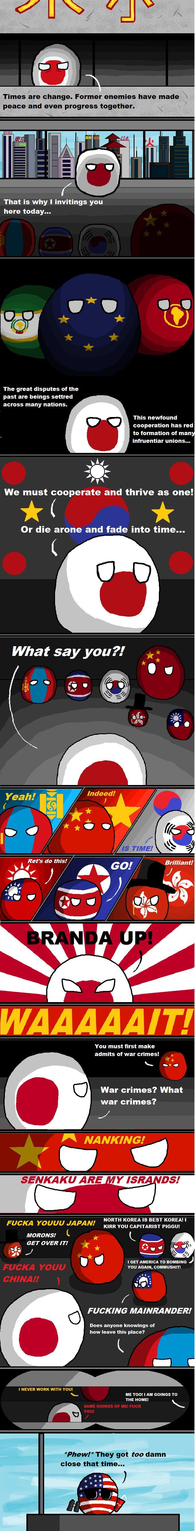 The East Asia Conference ( Japan, Mongolia, China, South Korea, Taiwan, North Korea, Hong Kong, USA ) by Pan Aaron  #polandball #countryball