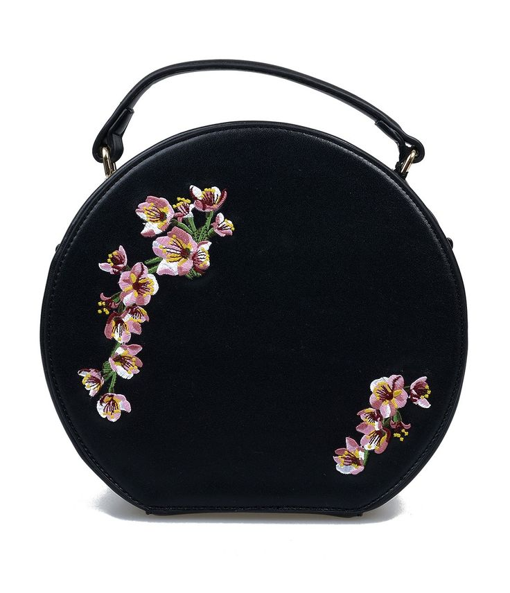 Black & Pink Floral Embroidered Handbag