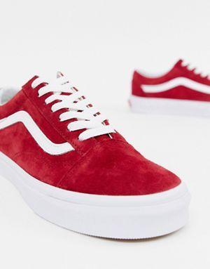 21405b050a41d7 Vans Red Suede Old Skool Sneakers