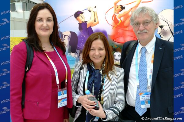Lisa Allan, Larisa Kiss and Jean-Luc Rouge of the International Judo Federation (ATR) - SportAccord Convention 2015