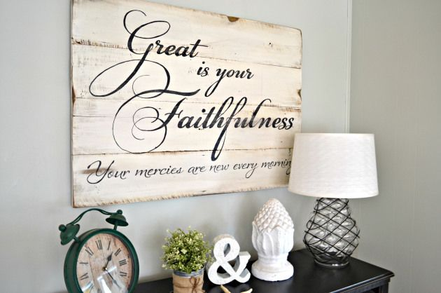 Great is your faithfulness wood sign by aimee weaver for Aimee weaver blogspot