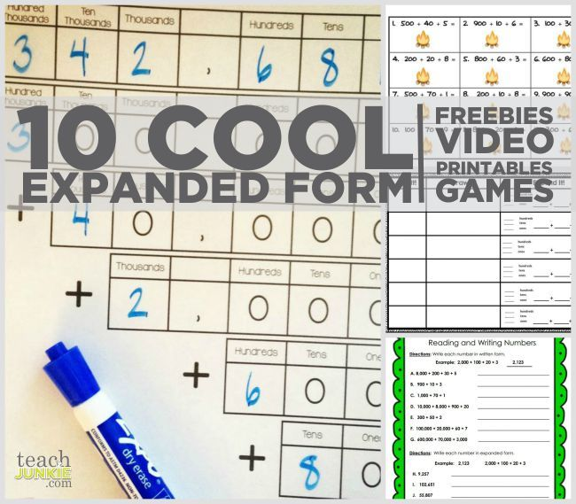Working on expanded form in math? Here are cool math ideas to practice the Common Core expanded form. Worksheets, games, DIY projects, freebies and a video.