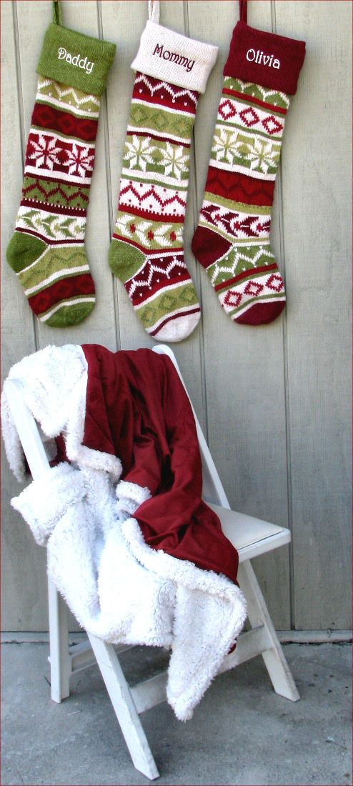 Personalized Knitted Christmas Stockings Red Green by eugenie2