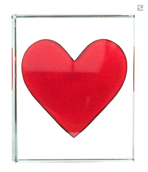 Big Red Heart Glass Token by Spaceform. Also available for personalisation.
