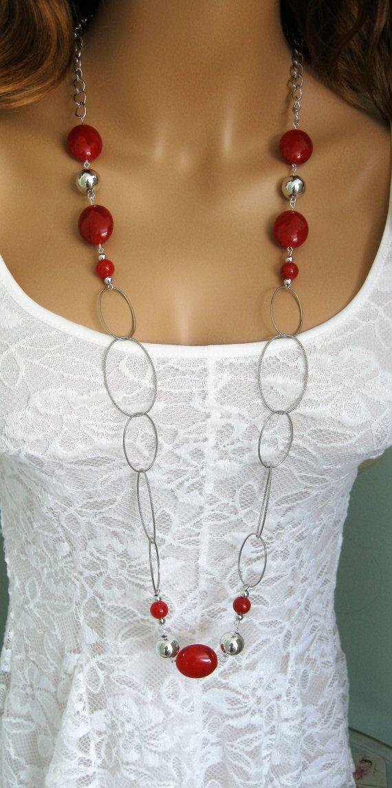 Rosso collana lunga collana rossa rossa lunga di RalstonOriginals