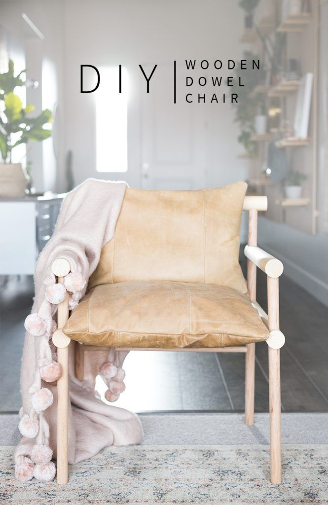 How to Build a DIY Urban Outfitters Inspired Wooden Dowel + Leather Chair | DIY Furniture | Vintage Revivals