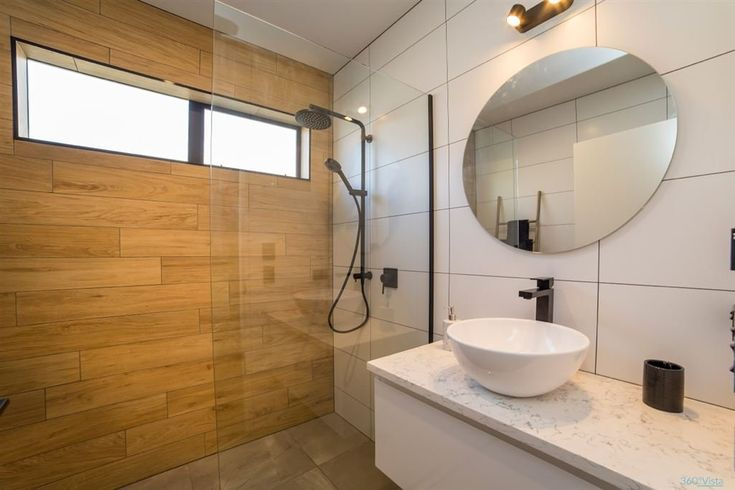 Falconer Rise, Jacks Point - Deavoll Construction | Queenstown Builders,  interior, design, architecture, bathroom, wooden, basin, round