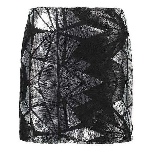 NMGLAM SEQUENS Mini skirts silver/black ZALANDO ❤ liked on Polyvore featuring skirts, mini skirts, silver mini skirt, short mini skirts, short skirts, silver skirt and mini skirt