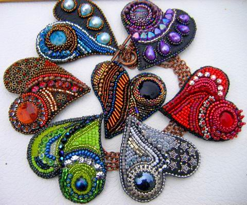 Beautiful embroidered jewelry by Theresa Labriet Click on link to see more photos - http://beadsmagic.com/?p=5933