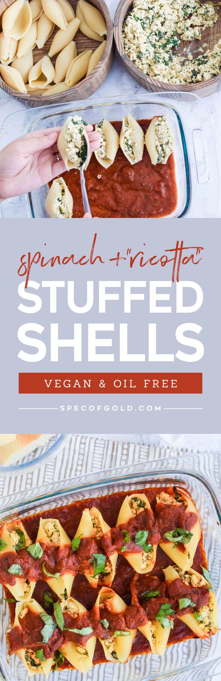 Vegan Stuffed Shells / Easy Cheap Vegan Dinner / Spinach & Tofu Ricotta Stuffed Shells / Plant Based Dinner / Oil-Free Dinner / HCLF