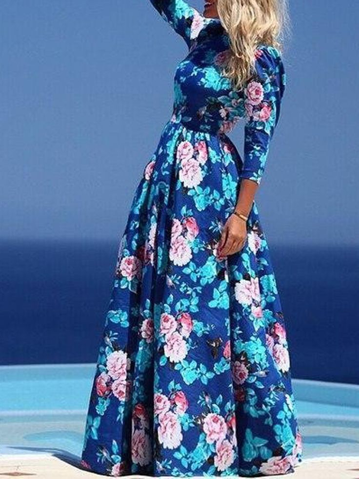 Shop Robe Longue Imprimée Floral Col Rond Manche 3/4 Taille Haute -Bleu from choies.com .Free shipping Worldwide.$15.99