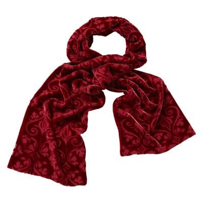 £55.00 - Red Devoré Velvet Veronese Scarf. This stunning scarf comes in a rich red and is styled in a luxuriously smooth devoré velvet, with a beautiful vine and floral motif throughout. The perfect complement to any outfit, this is one accessory you'll reach for time and again.
