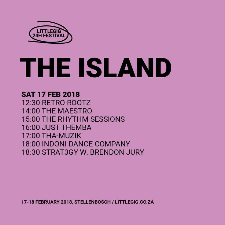 The Island is the place for afro-beats, afro-jazz, afro-funk, latin-funk and samba. Feel the sun on your back, and enjoy a trip across the globe.  Retro Rootz / The Maestro / The Rhythm Sessions / Just Themba / Tha-Muzik / Indoni Dance Company / Strat3gy with Brendan Jury