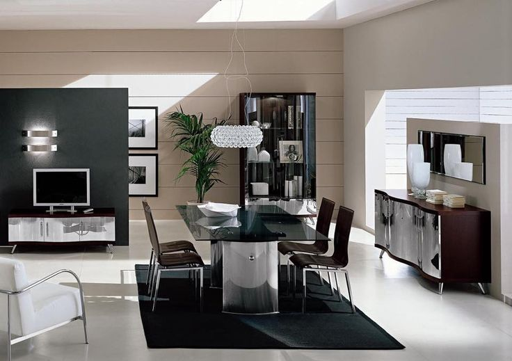 Dining Room Modern Furniture With Black Transparent Glass Dinning Table As Well Beauty Case And Carpet Also White Puffy Sofa