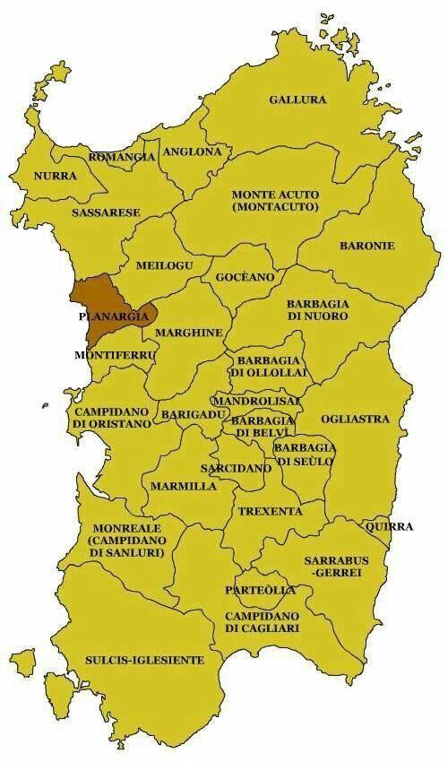Sardegna - Carta delle regioni storiche