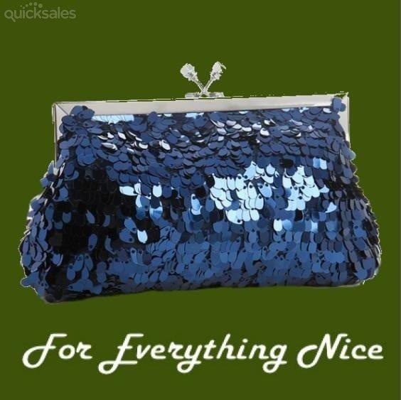 Royal Blue Oval Paillete Sequins Evening Bag Bridal Purse by JRMB7339 - $80.00