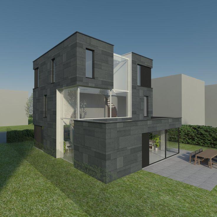 Ontwerp voor nieuwbouwwoning op Kubuseiland in Utrecht Terwijde.