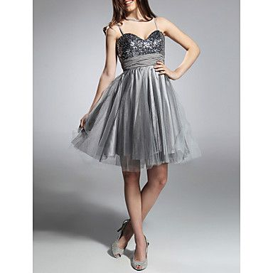 A-line Spaghetti Straps Knee-length Sequined Taffeta And Tulle Cocktail/Prom Dress – USD $ 39.99
