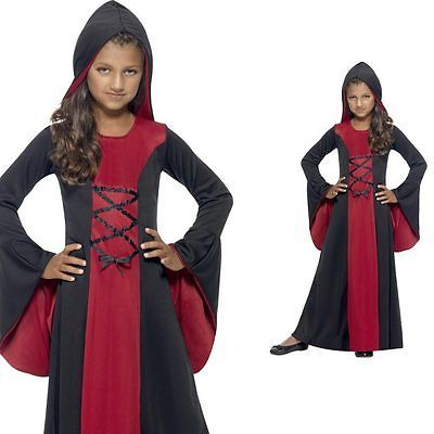 Girls Vampire Costume with Hood- Childrens Kids Halloween Fancy Dress Outfit