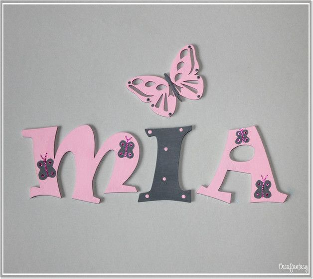 Nursery wooden wall letters in pink and gray nursery