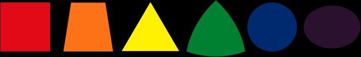 """In der """"Expressiven Farbenlehre"""" wird versucht den Farben Formen zuzuordnen.  Rot: Rechtecke, alle horizontalen und vertikalen Formen, alle statischen, schweren Formen. Rot ist die Farbe der Materie. (ruhende Materie)  Gelb: Dreieck, alle diagonalen Formen, Gelb ist kämpferisch und aggressiv, hat einen schwerelosen Charakter. (Denken)    Blau: Kreis, runde Formen, Entspanntheit und stetige Bewegung. (ewig bewegter Geist)  Orange: Trapez    Grün: sphärisches Dreieck  Violett: Ellipse…"""