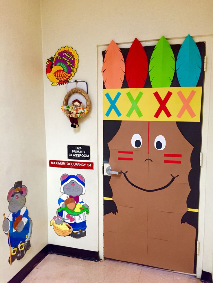 Thanksgiving Fall Indian kindergarten classroom door