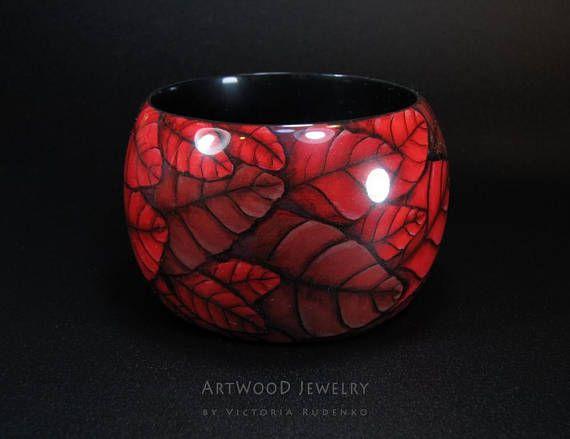 Wood Bracelet Leaf Painted Jewelry Unique Luxury Wide