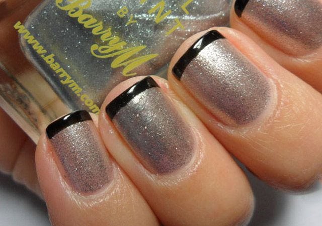 Beautiful Spring Nails With Silver & Black Design