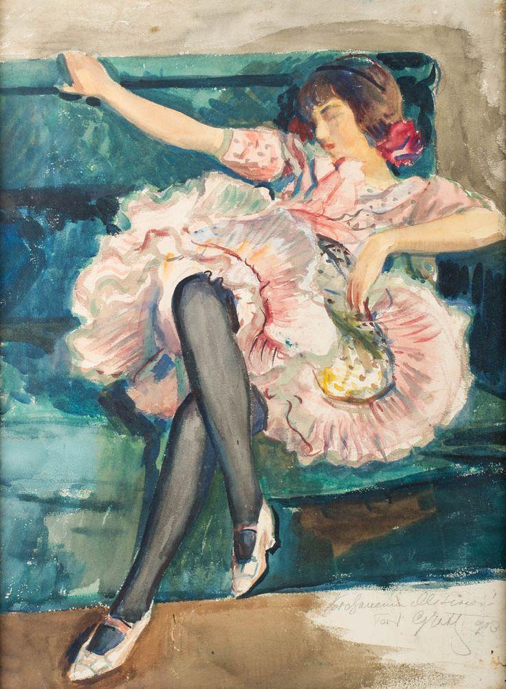 TEODOR GROTT (1884 - 1972)  BALETNICA, 1909   akwarela, papier / 66 x 49 cm