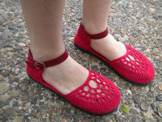 Red crochet shoes!
