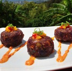 Okinawan Sweet Potato Shrimp Cakes w/Roasted Pepper Aioli
