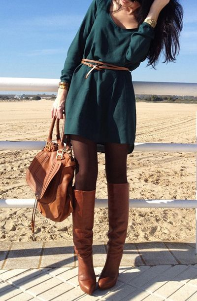 Belted teal mini dress with brown knee-high boots and tights. :)