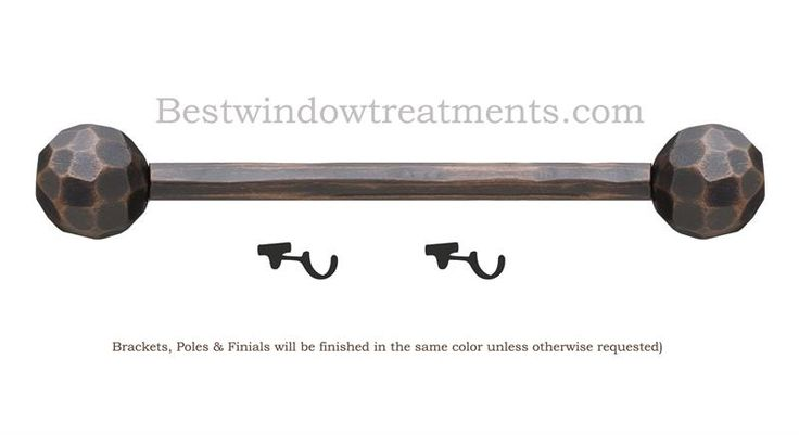 Hammered Ball by the Finial Company Custom Curtain Rods : sold as a set (brackets, rod & finials ) : extra long available for wide windows, french doors or patio door : made in the USA | Best Window Treatments