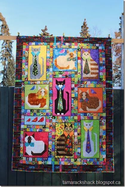 "cute! ""cats with collars"" quilt on the tamarack shack blog"