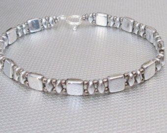 silver bracelet czechmate beads beaded bracelet beadwork
