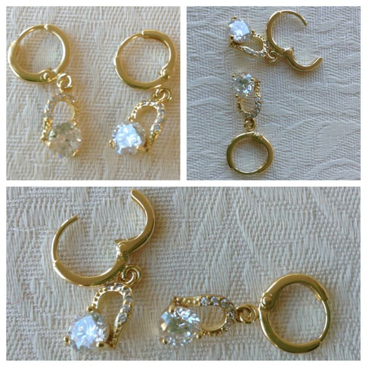 9K yellow gold-filled drop hoop earrings with CZ bling (also comes in white gold) @ AUD$12.00 + postage or local pick up available (2 in stock)
