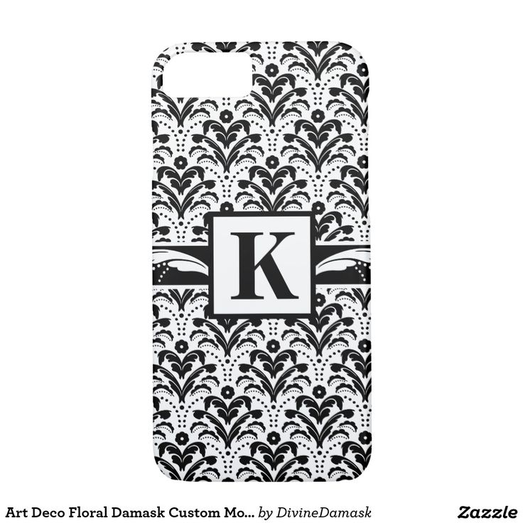 Art Deco Floral Damask Custom Monogram iPhone 7 Case
