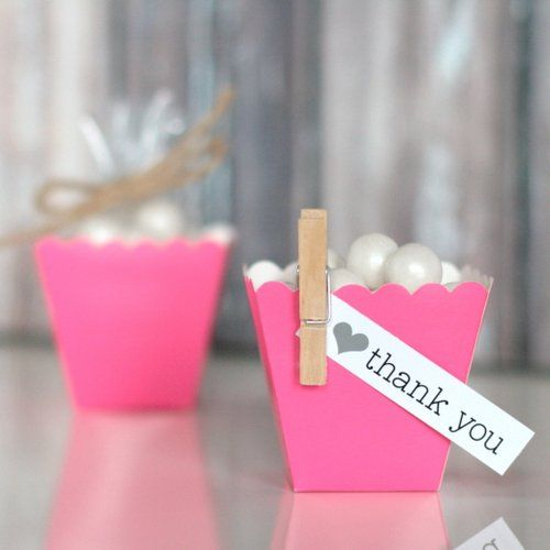 New to the Shop! Mini Scallop Favor Boxes: Dark Pink $5.50