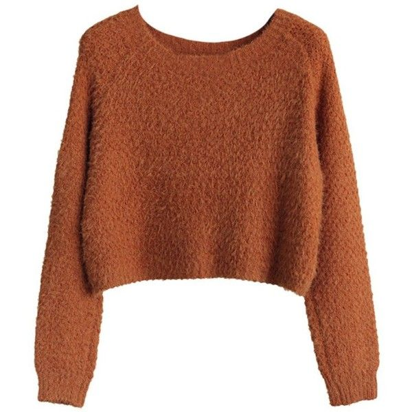 EGELBEL Women's Long Sleeve Crewneck Mohair Crop Top Sweater found on Polyvore featuring tops, sweaters, sweaters/sweatshirts, crop tops, cropped sweater, crew neck tops, crop top, long sleeve tops and crew-neck sweaters
