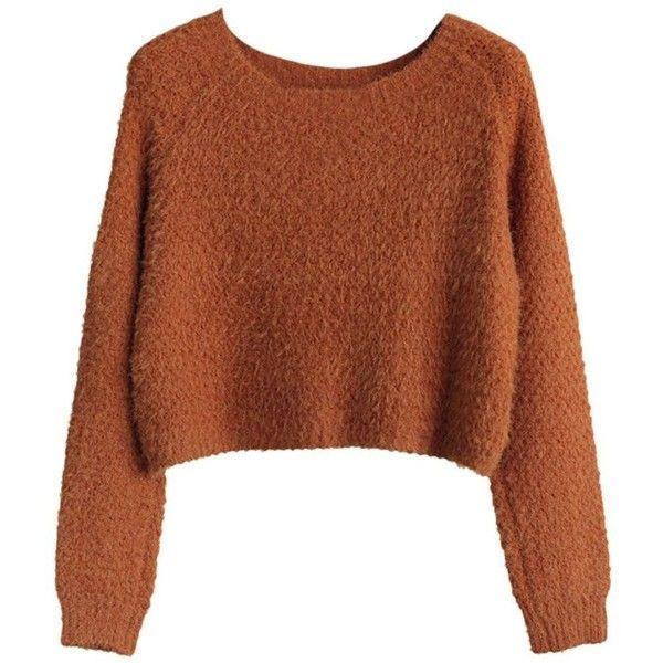 EGELBEL Women's Long Sleeve Crewneck Mohair Crop Top Sweater found on Polyvore featuring tops, sweaters, sweaters/sweatshirts, crop tops, cropped sweater, crew neck tops, crop top, long sleeve tops and crew-neck sweaters