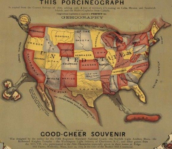 ブタで表したアメリカ地図:   1876年頃、各州を表すブタと州の特産物を表記している。