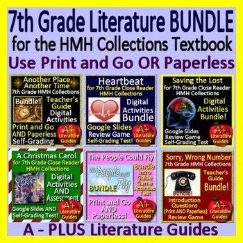 """This is a another HUGE bundle which includes teaching resources for the following SIX selections from the 7th Grade Houghton Mifflin Harcourt Collections Textbook and Close Reader: """"Sorry, Wrong Number"""", """"Saving the Lost"""", """"The People Could Fly"""", """"A Christmas Carol"""", """"Heartbeat"""" and """"Another"""