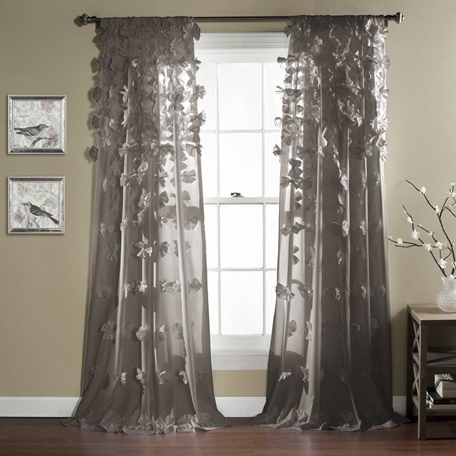 Lush Decor Riley 84-Inch Curtain Panel (Grey), Size 54 x 84 (Polyester, Solid)