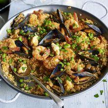 Seafood paella and tapas