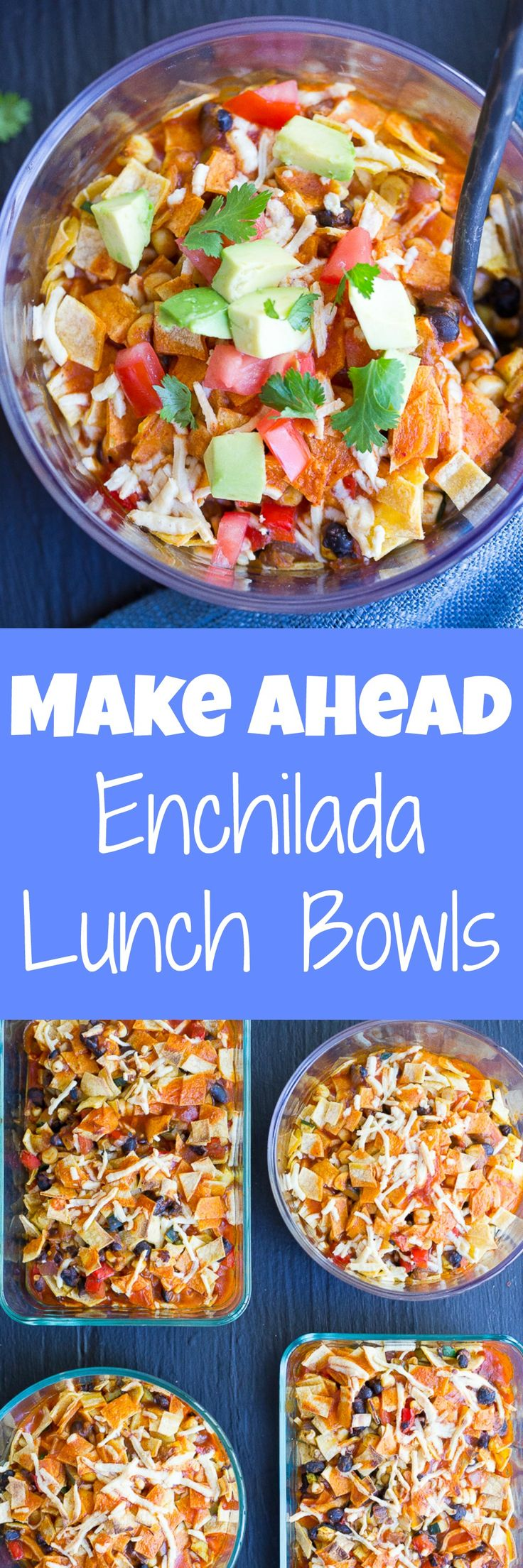 Make Ahead Enchilada Lunch Bowls - Make these on Sunday and you'll have lunch for the whole week!  They're easy, healthy, filling and flavorful!  Gluten free and vegan too! (Gluten Free Recipes Casserole)