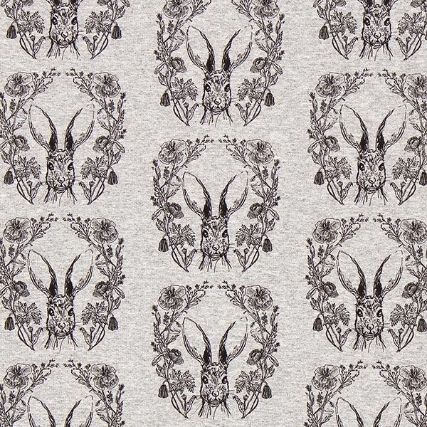 0 black and grey rabbit head pattern