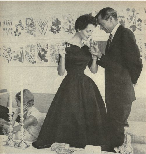 The silhouette. The background vs. the foreground. Cocktail Party Dress 1950s